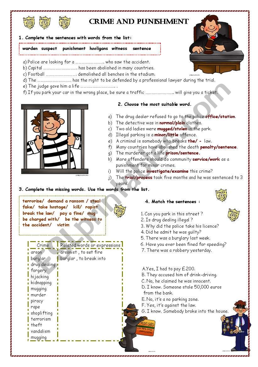 Crime and Punishment part 2 worksheet
