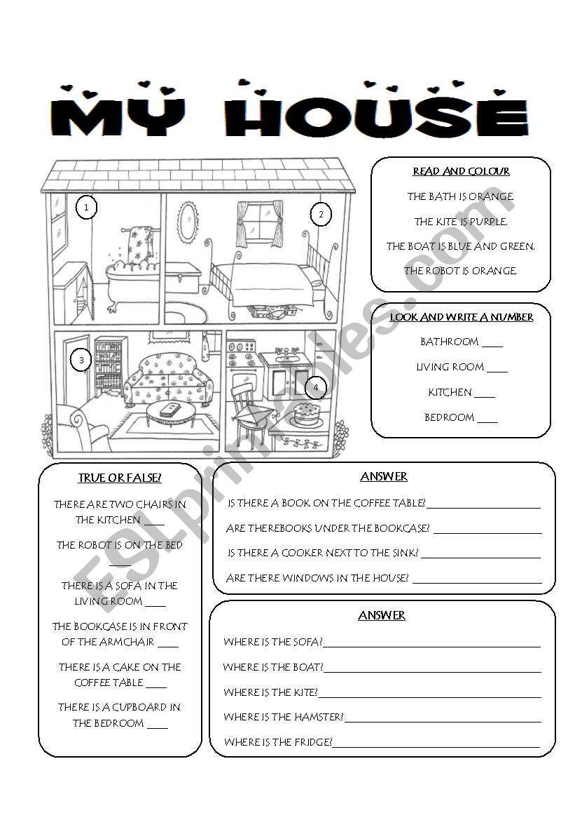 my house worksheet