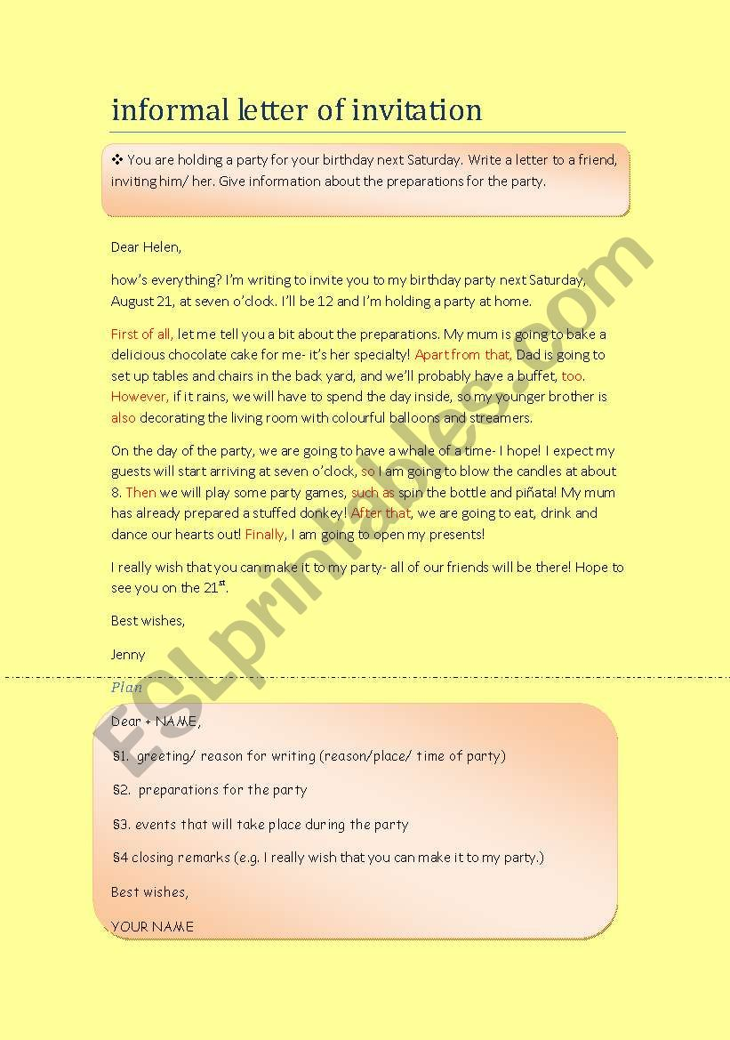 how to write 4 an informal letter of invitation  esl