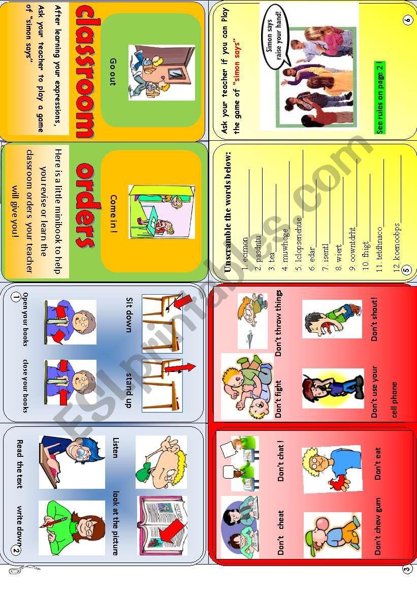 classroom orders minibook worksheet