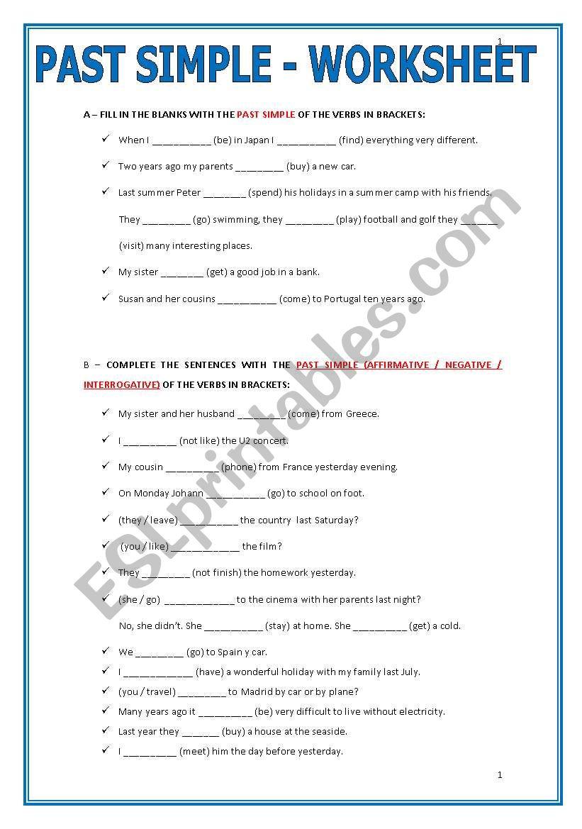 Past Simple Worksheet Esl Worksheet By Ascincoquinas