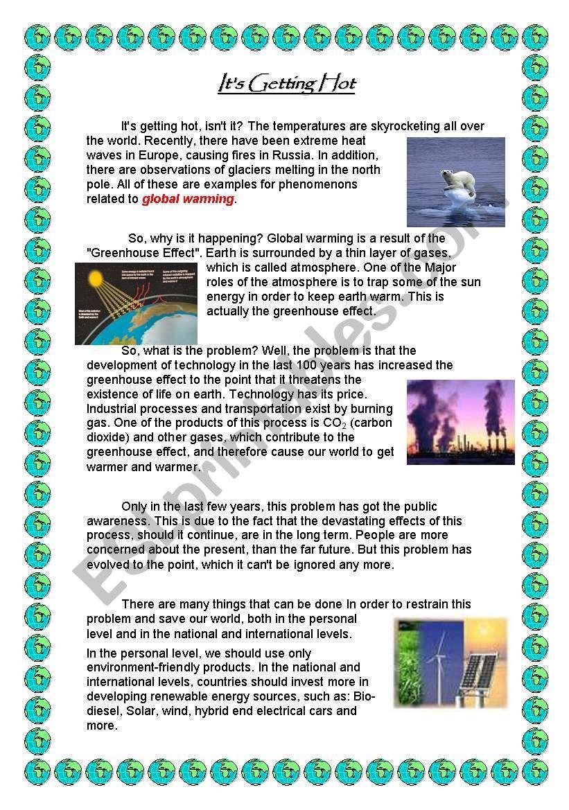 Global Warming Esl Worksheet By Thewall