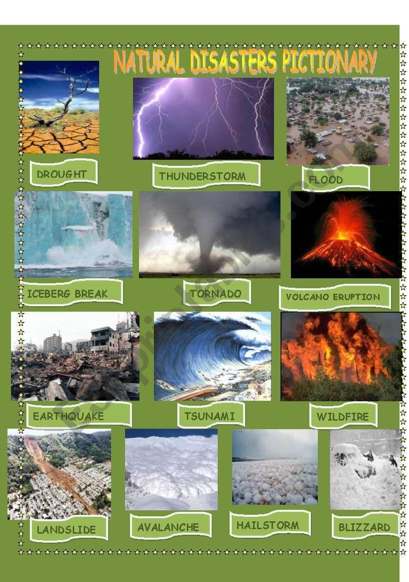 NATURAL DISASTER PICTIONARY  worksheet