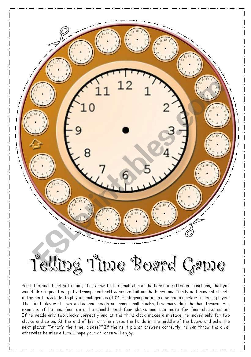 Telling Time Board Game worksheet