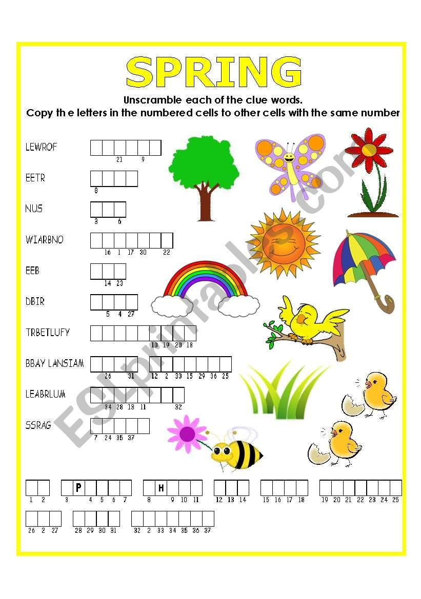 DOUBLE PUZZLE (SPRING) + KEY worksheet