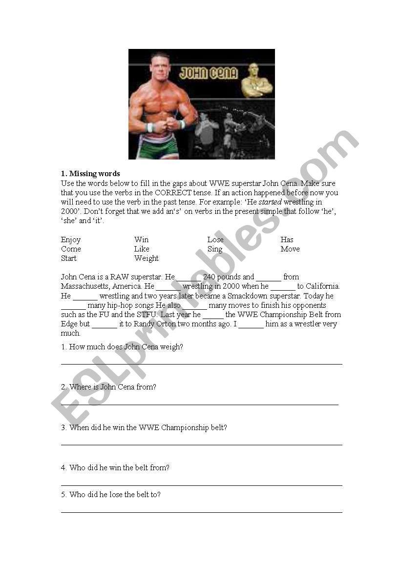 English worksheets: John Cena Cloze