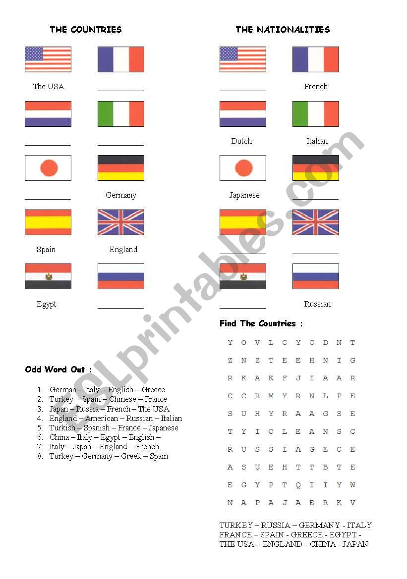 country & nationality worksheet