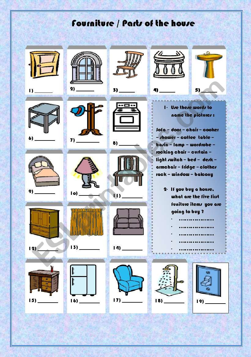 furniture/ parts of the house worksheet