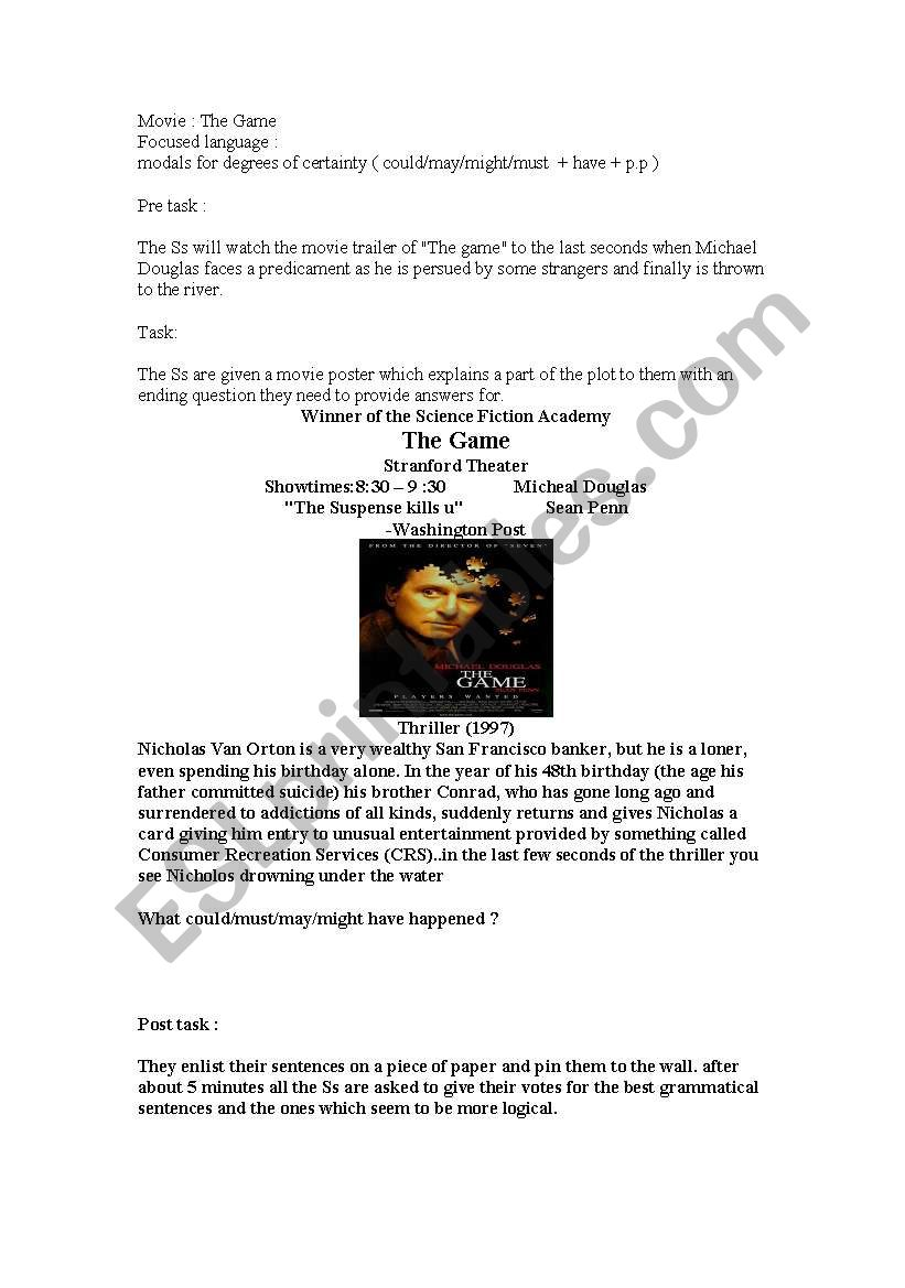 The game movie lesson plan esl worksheet by sirinlander - Game design lesson plans for teachers ...
