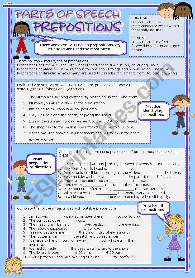 Parts of speech (9) - Prepositions (fully editable)