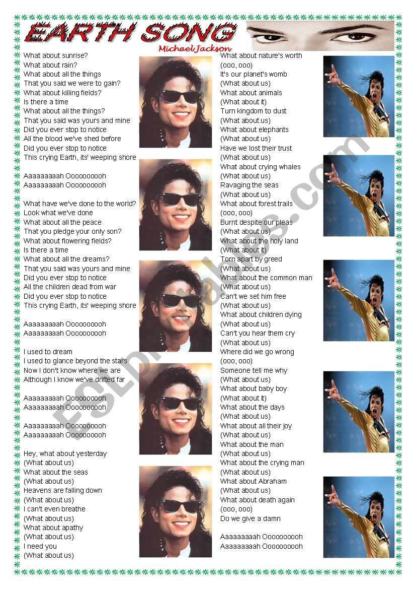 Song: Earth Song (Michael Jackson) - comprehension + vocabulary on environment ((2 pages)) ***fully editable