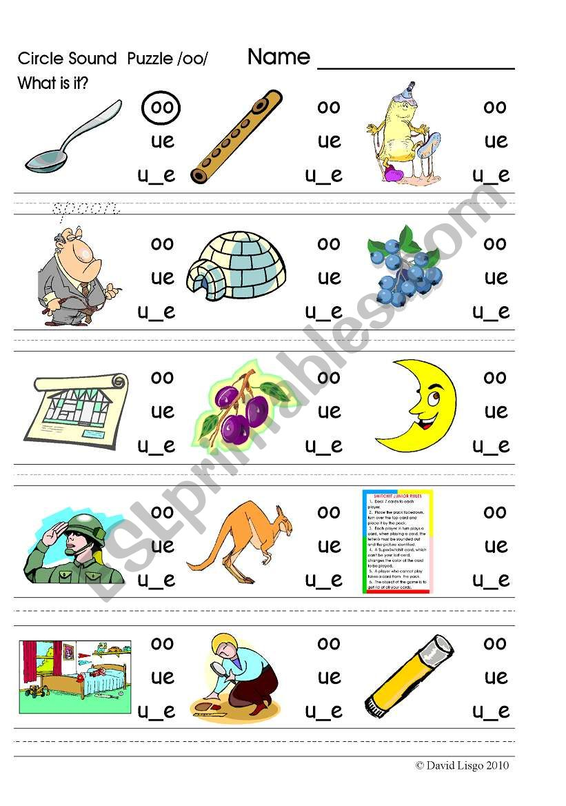 Circle Sound Puzzle 5 Phonics The Oo Sound Esl Worksheet By David Lisgo