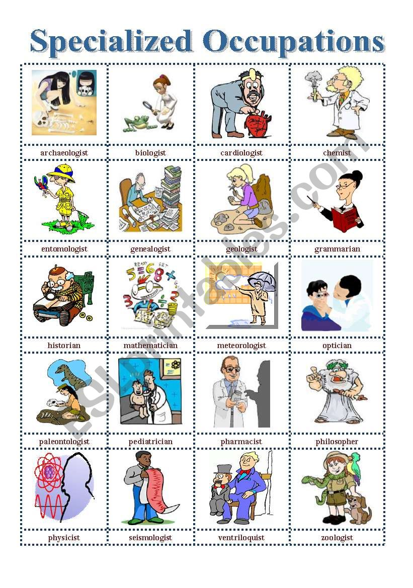 Job Specializations (Picture Dictionary)