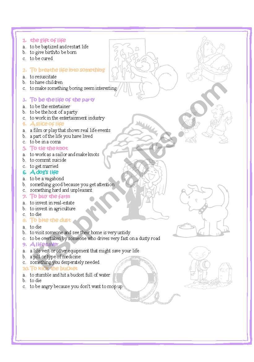 life idioms quiz part 2 worksheet