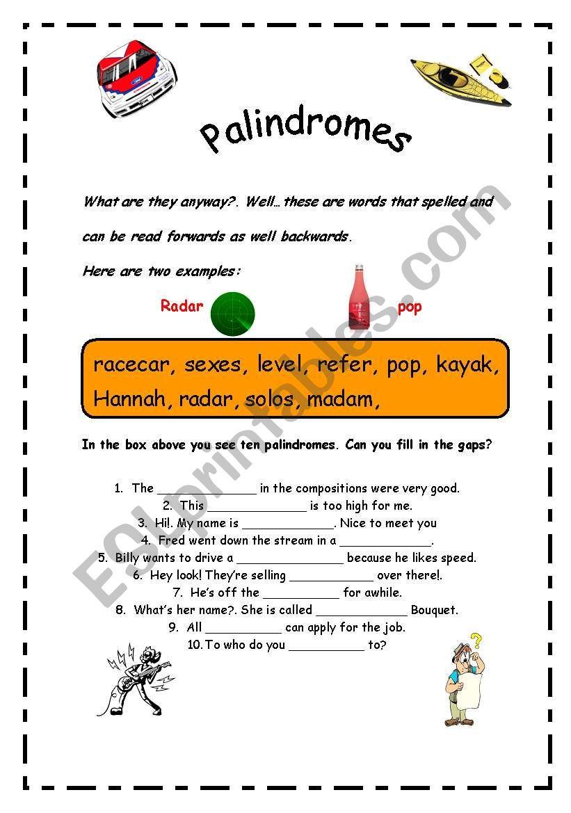 Palindromes Esl Worksheet By Errie