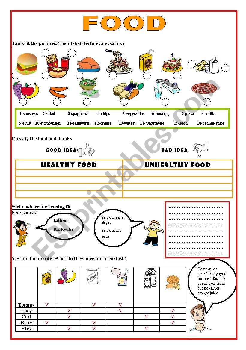 fOOD- HEALTHY / UNHEALTHY worksheet