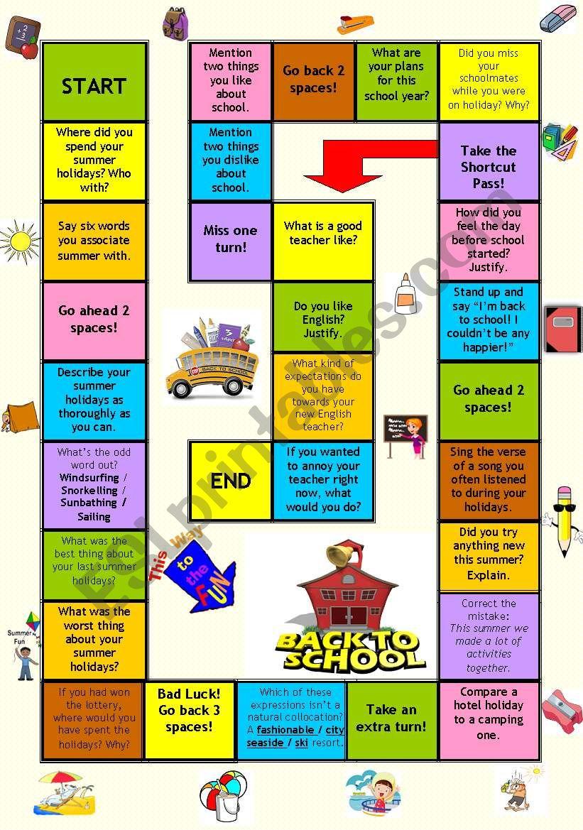 Board game - Back to school worksheet
