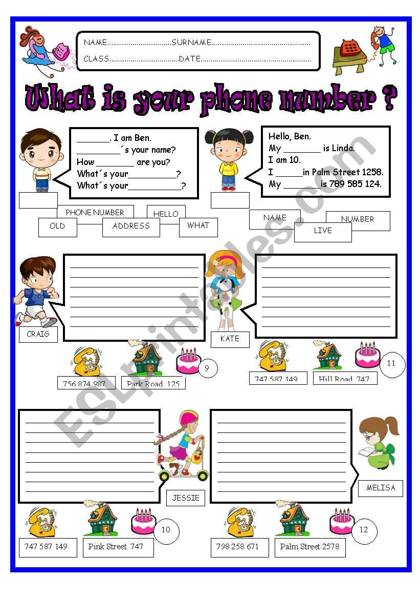 What Is Your Phone Number Esl Worksheet By Jazuna