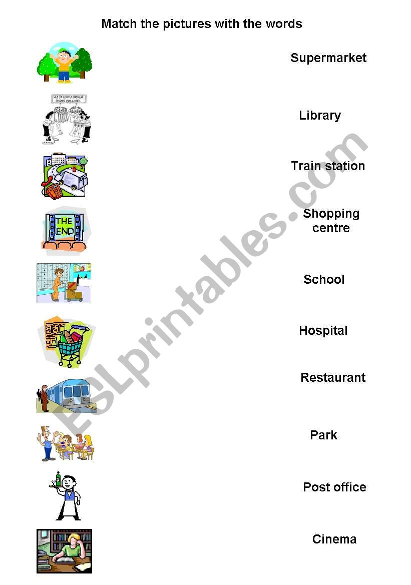 SHOPS AND PLACES worksheet