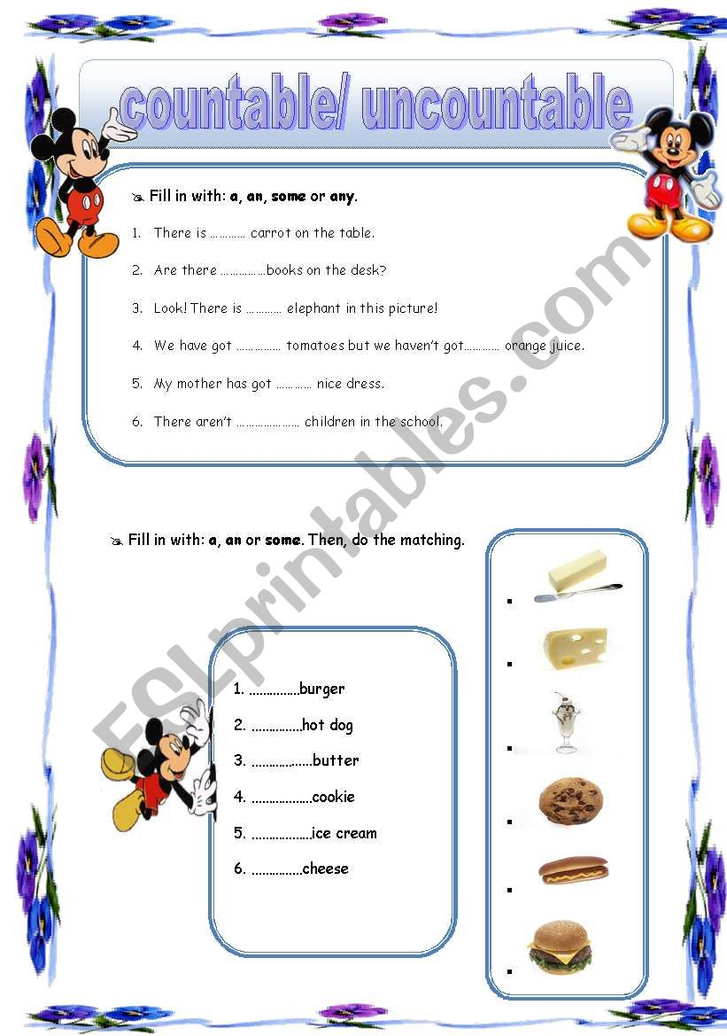 english worksheets  countable and uncountable nouns  a  an