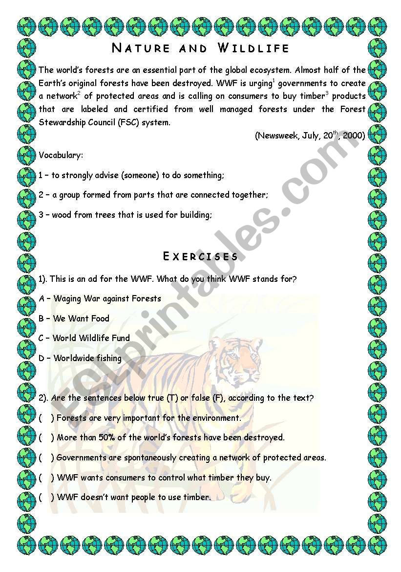 Nature and Wildlife - Reading worksheet
