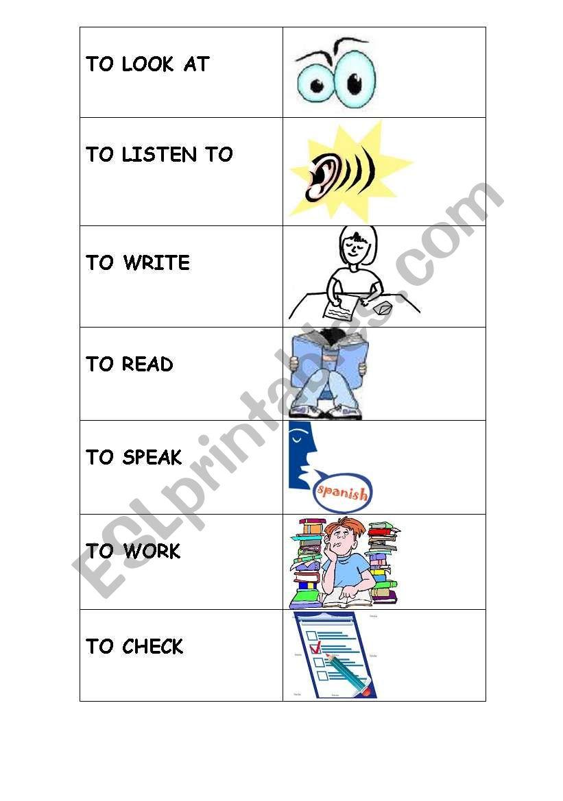 Classroom instruction verbs worksheet