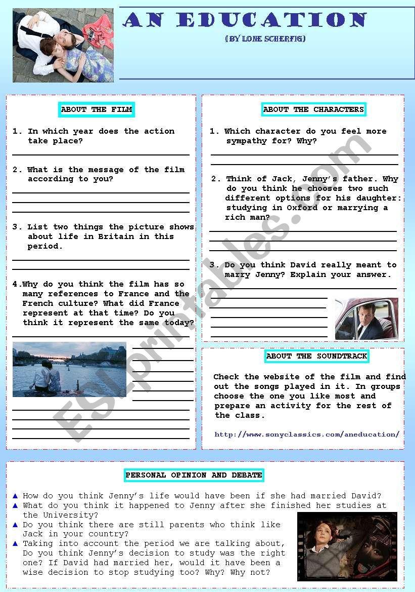 An Education film worksheet worksheet