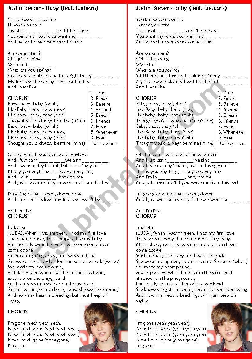 JUSTIN BIEBER - BABY worksheet
