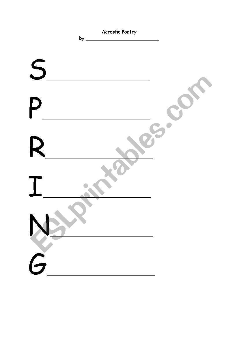 English Worksheets Spring Acrostic Poem