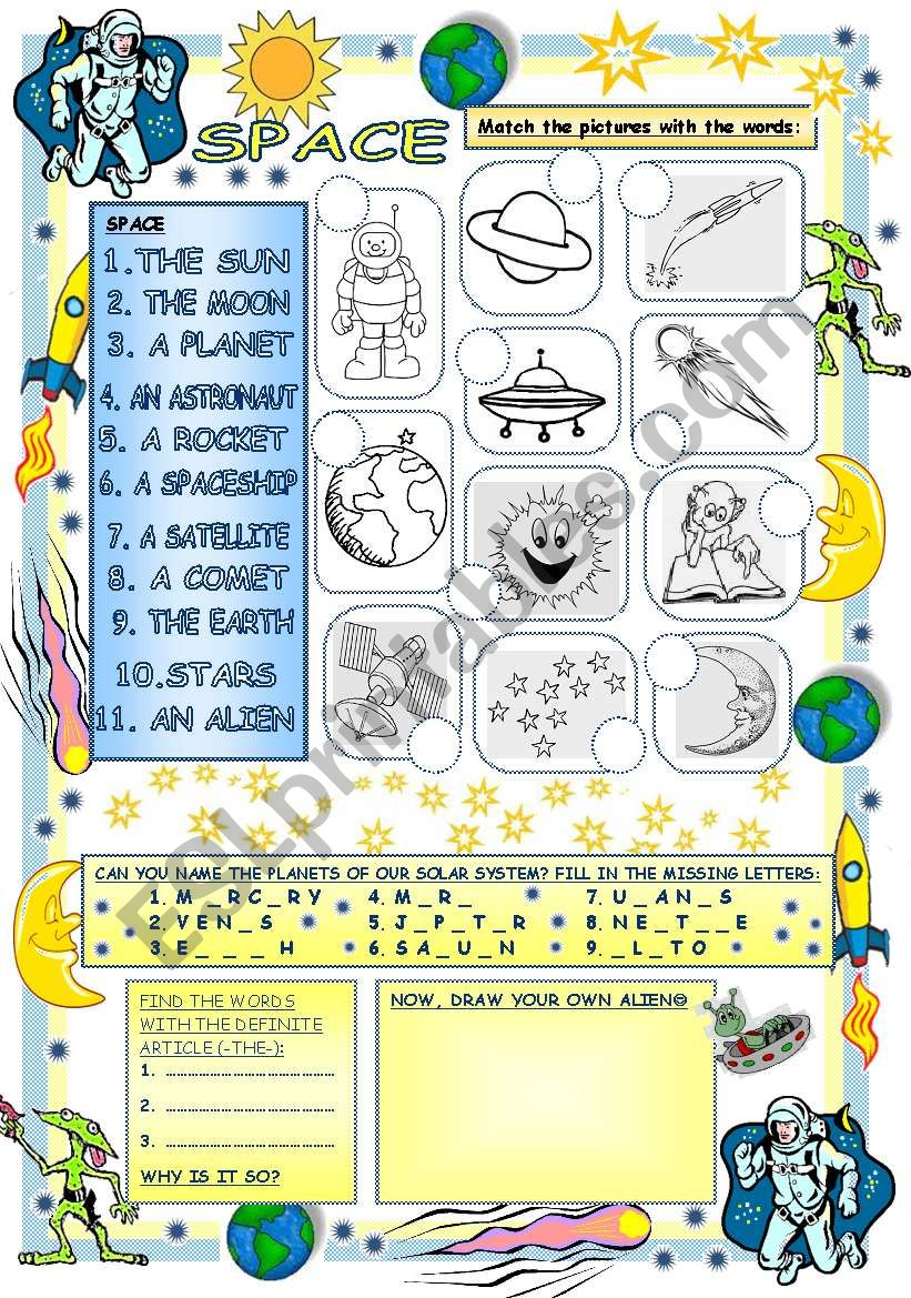 Elementary Vocabulary Series12 - Space - ESL worksheet by ...