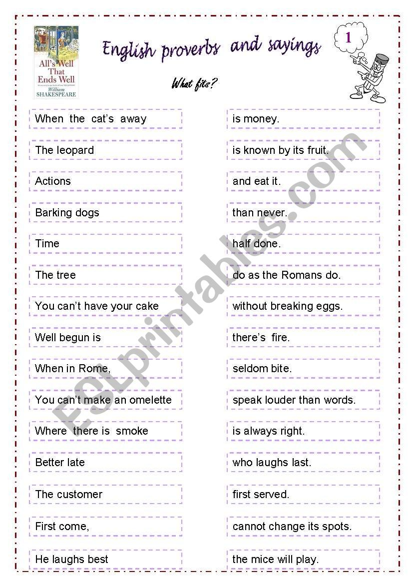 Proverbs and sayings worksheet