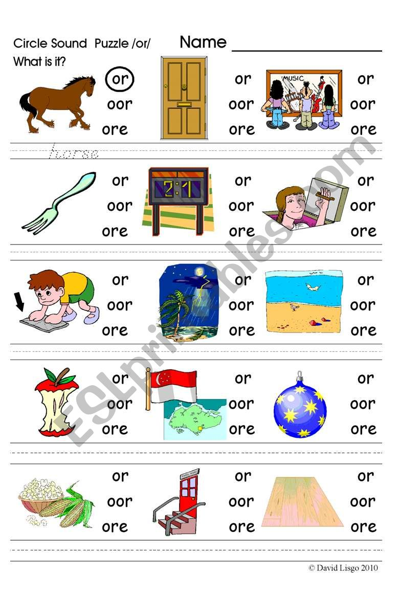 Circle Sound Puzzle 9: phonics the /or/ sound - ESL ...
