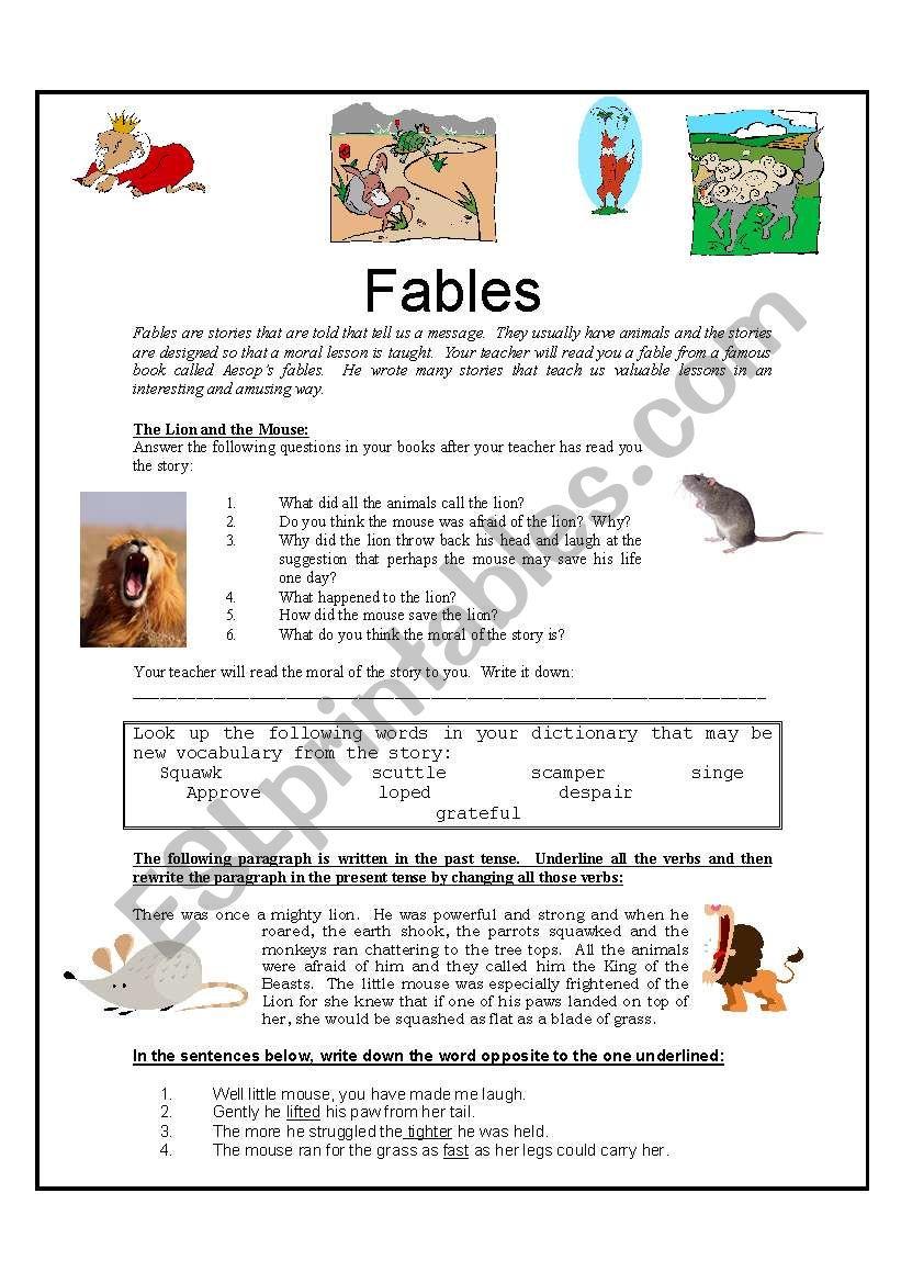 Fables - ESL worksheet by Kellycoetzer