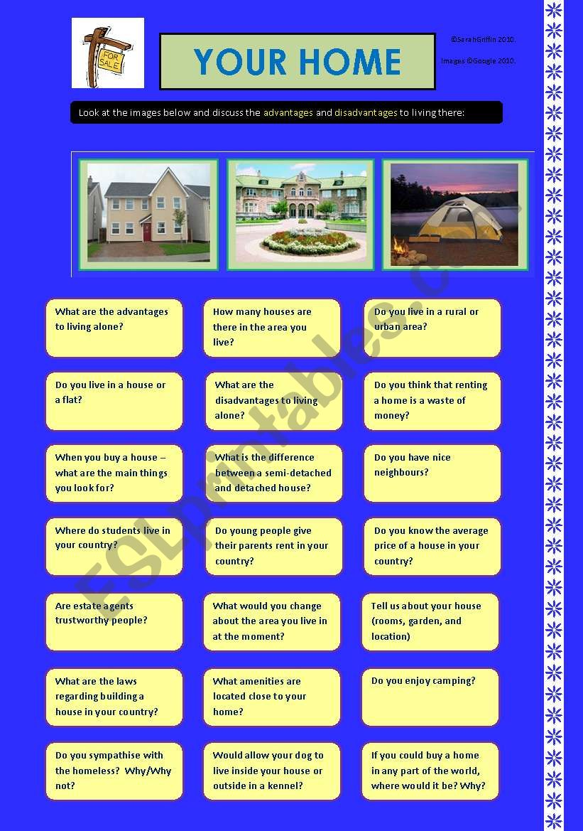 Discussion 2  - Homes.  Includes a black and white version and Instructions