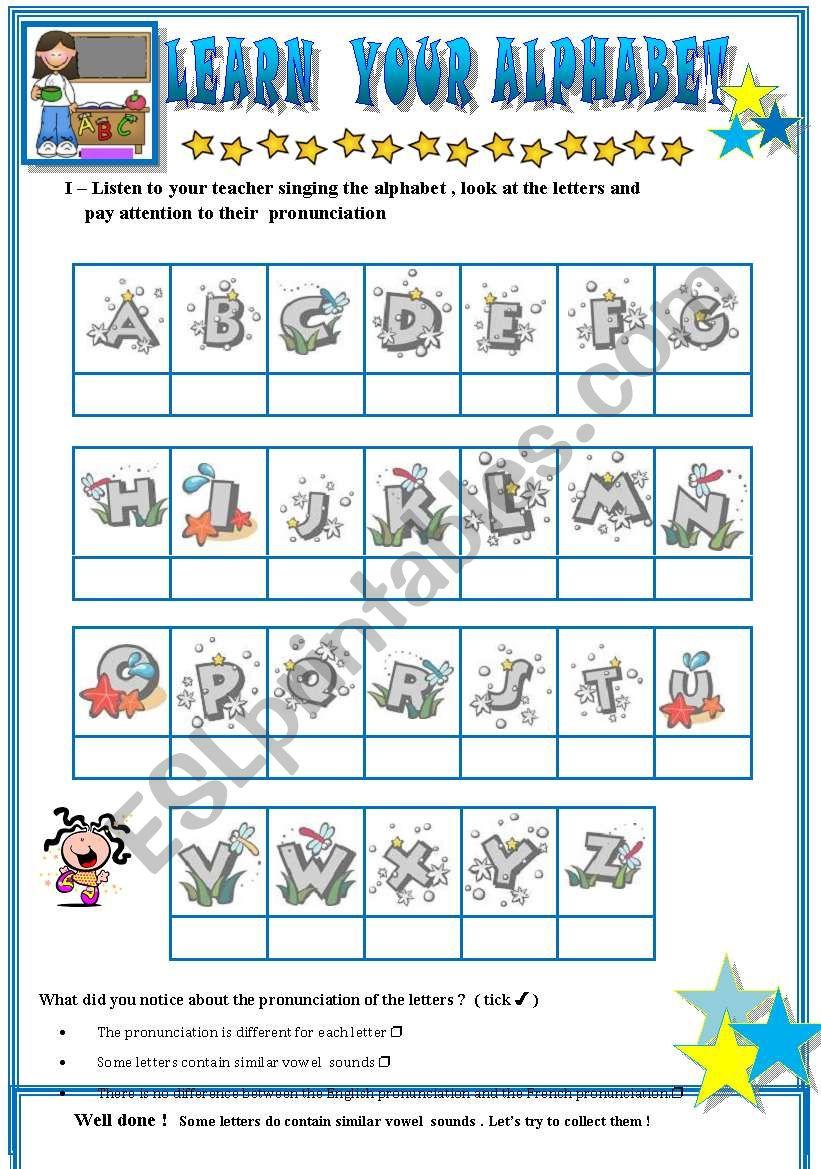 learn the alphabet worksheet