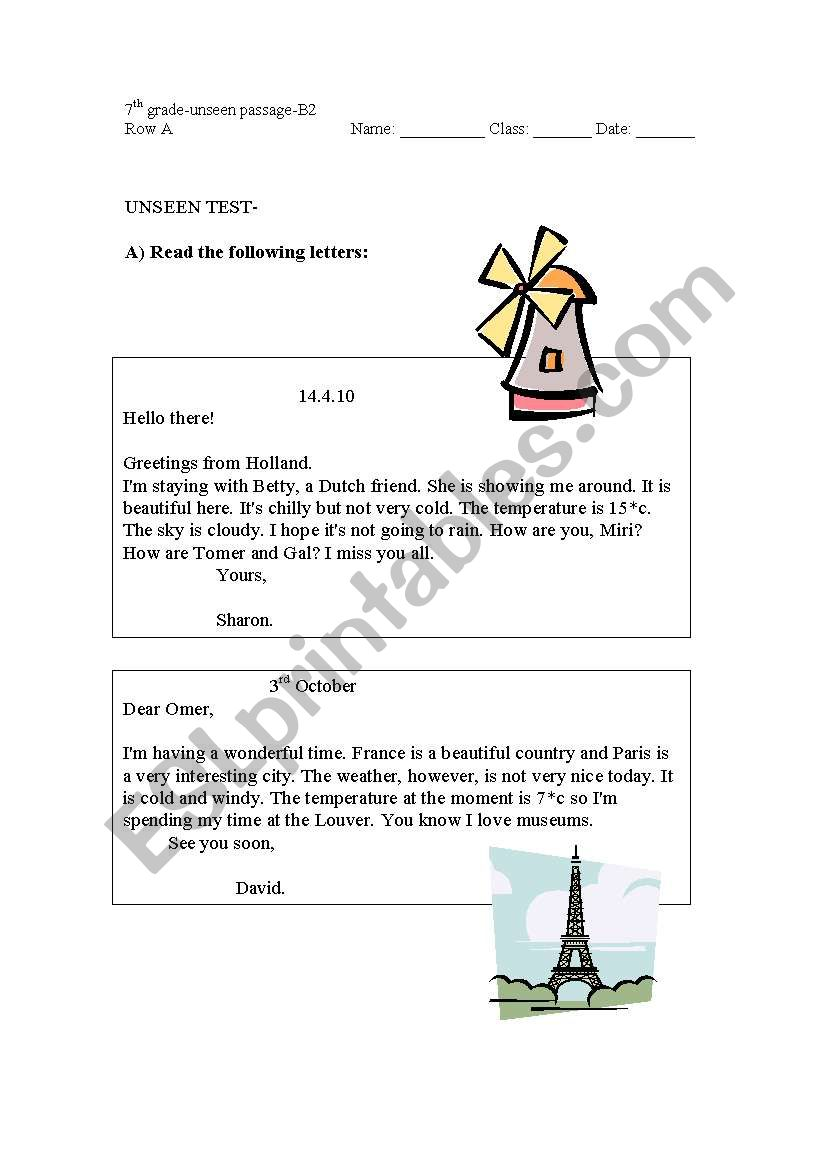 English worksheets: Unseen passages for a test - Visiting Different