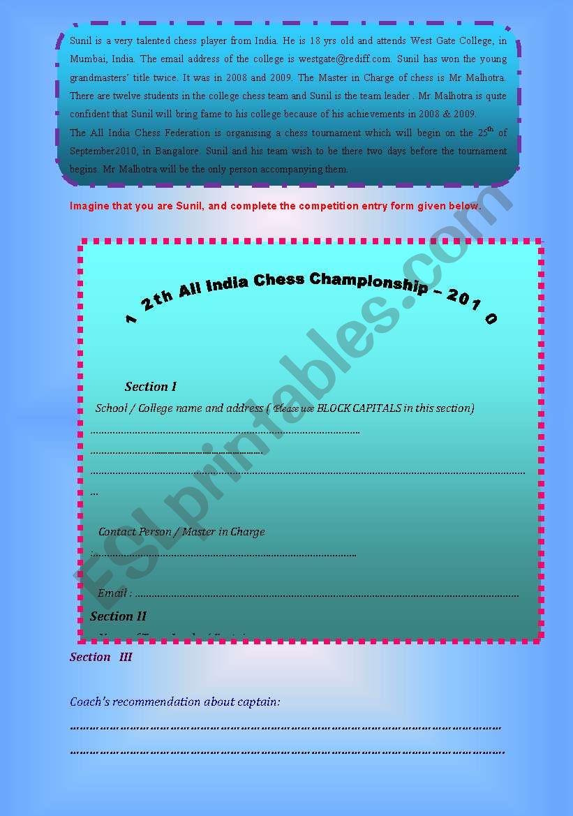 Information transfer worksheet