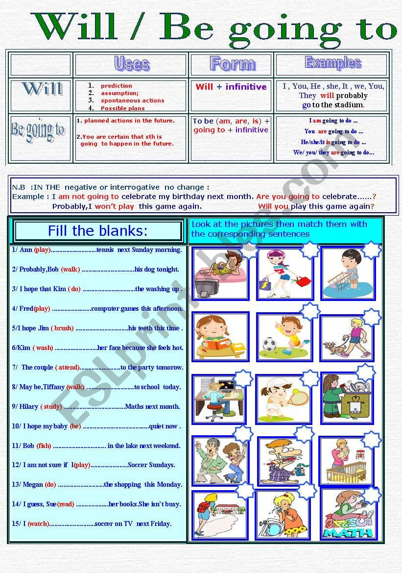 Will Vs Be going to - ESL worksheet by Mabdel