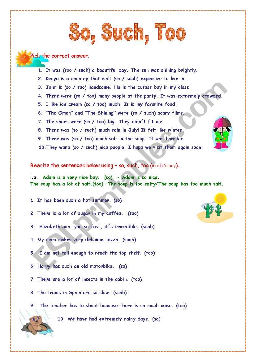 So, Such and Too worksheet