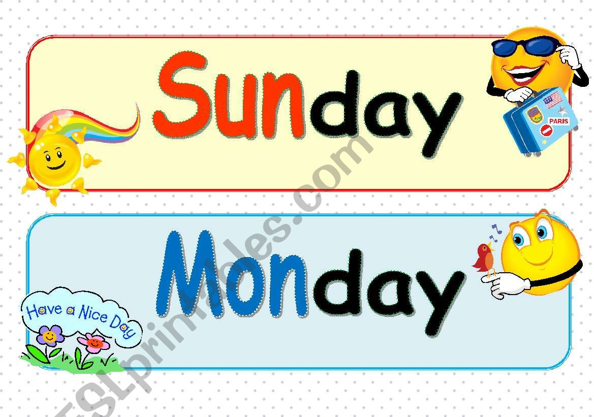The days of the week ( Part 1 )