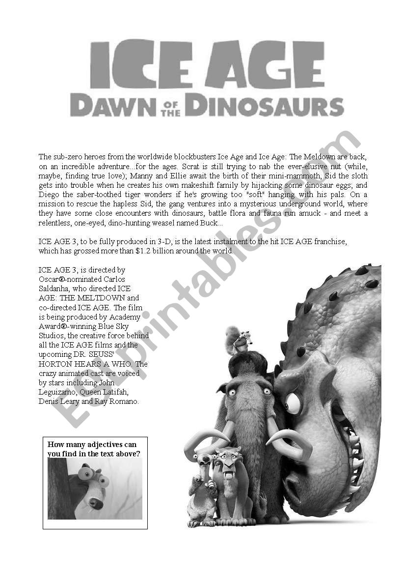 ice age dawn of the dinosaurs adjectives esl worksheet by sophiadiesel. Black Bedroom Furniture Sets. Home Design Ideas