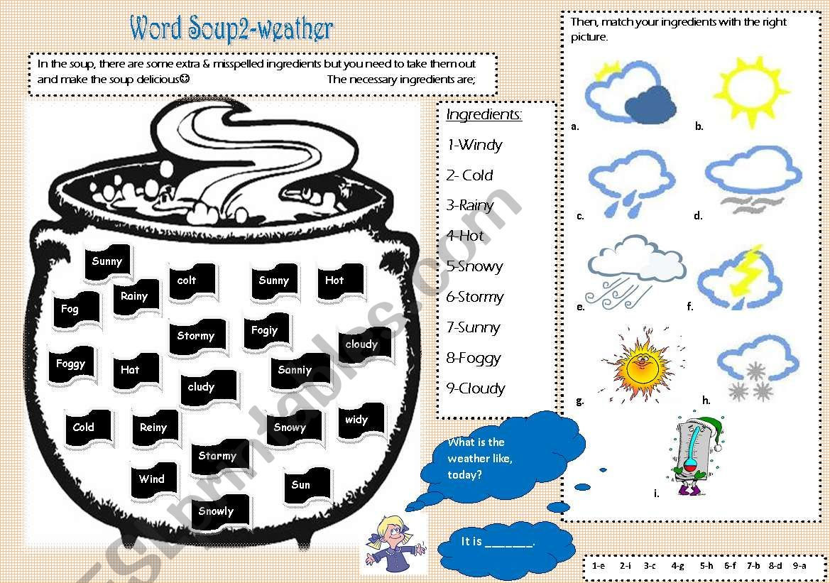 word soup2-weather worksheet