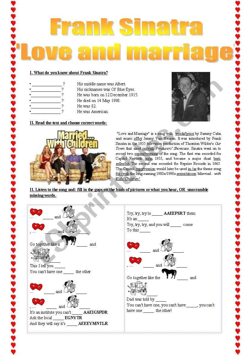 Frank Sinara ´Love and Marriage´ song-based activity (fully editable + answer key)