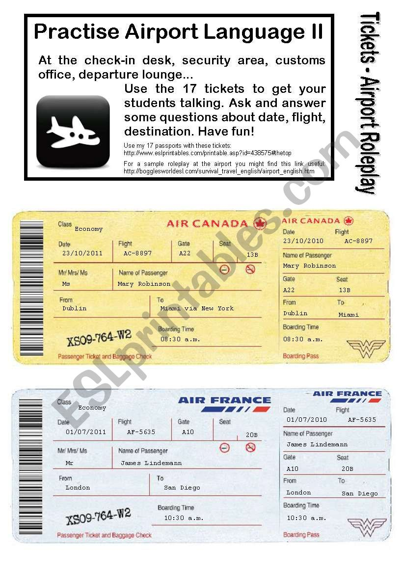 No.2 - AIRPORT/HOLIDAY LANGUAGE GAME- 17 Tickets - Roleplay - Practise speaking at check-in, customs, waiting area