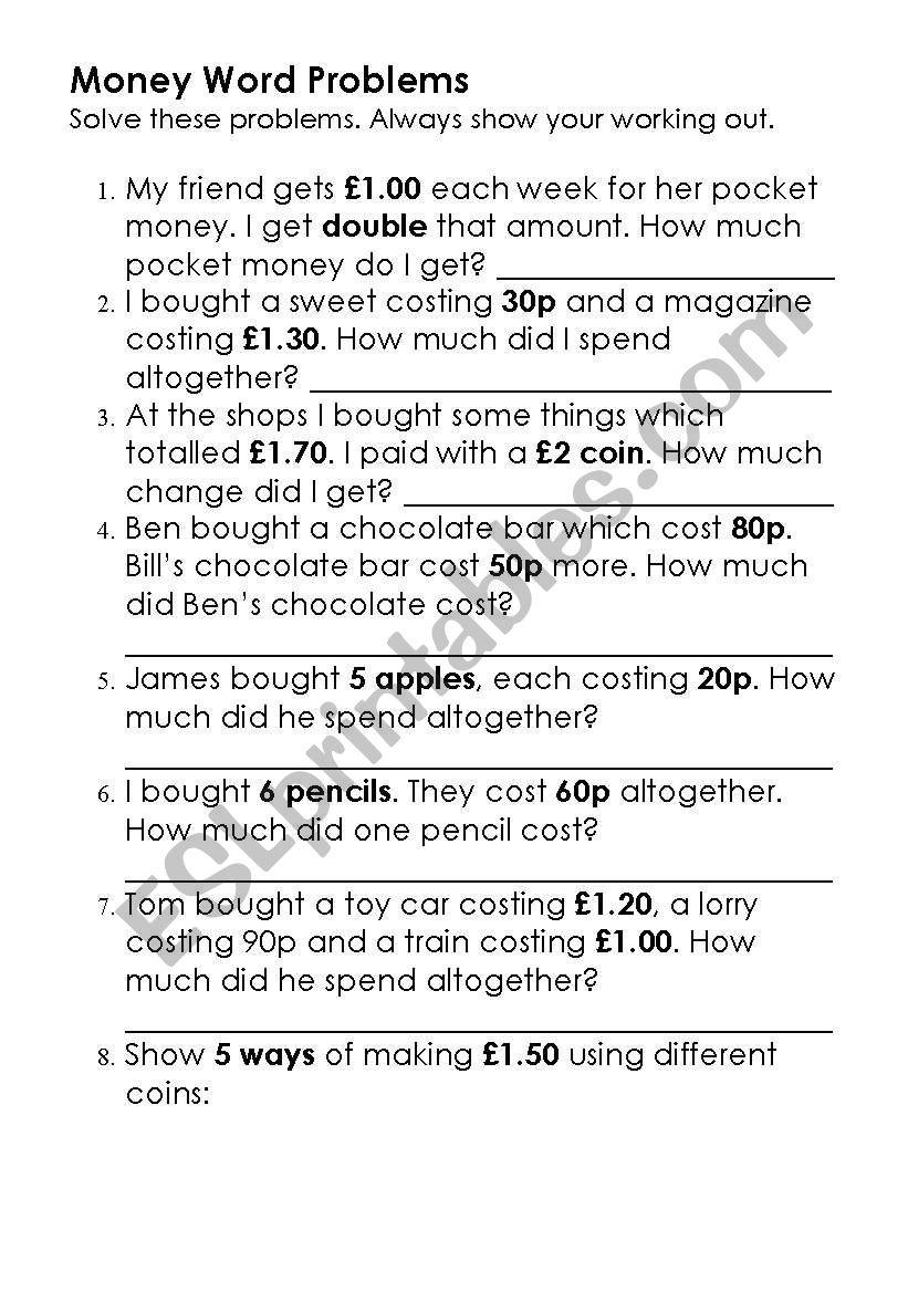 Money Word Problems worksheet
