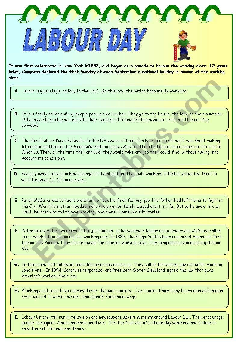 LABOUR DAY worksheet