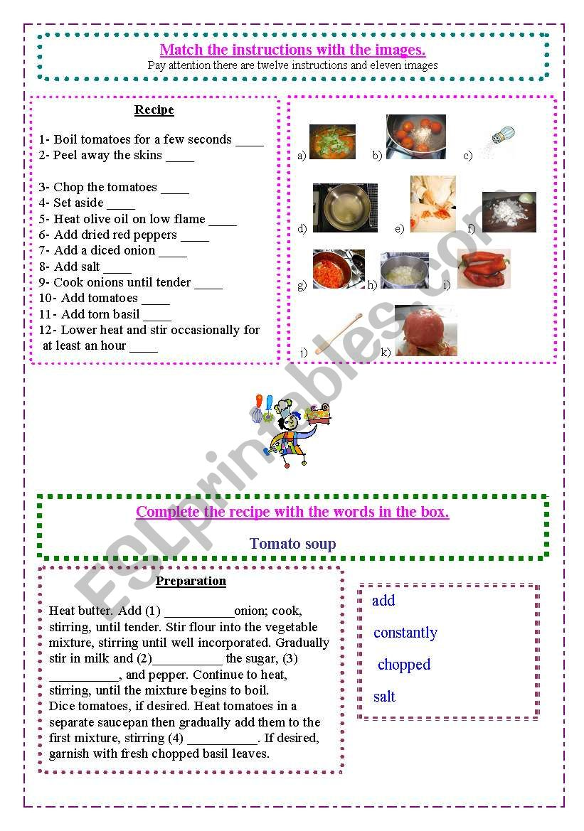 Food and recipes worksheet