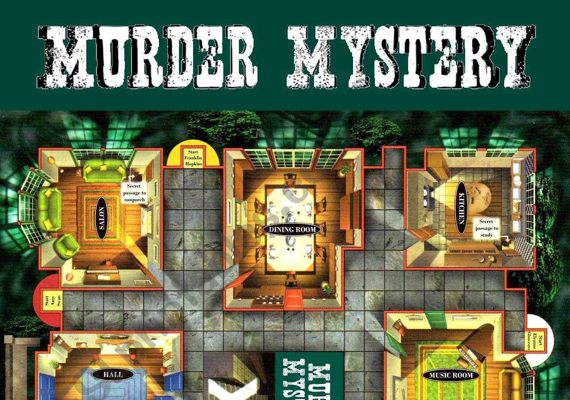1 of 2 MURDER MYSTERY - Boardgame - Roleplay practise speaking - Board on 2 PAGES