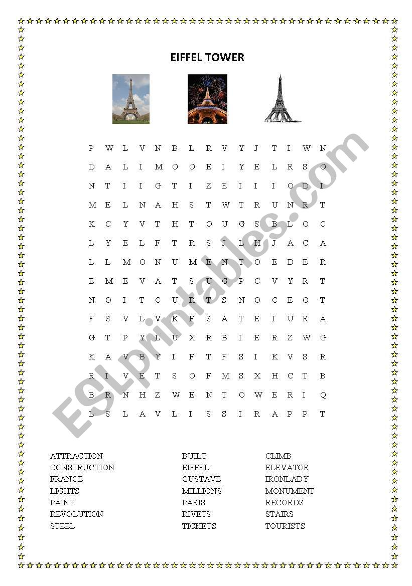 Eiffel Tower Wordsearch and Cryptogram - ESL worksheet by yasheeka patel