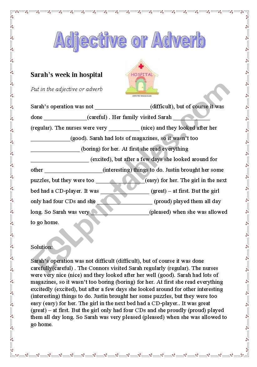 Sarah´s week in hospital worksheet